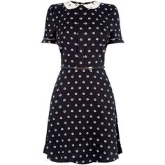 SPOT COLLAR SKATER DRESS ($63) ❤ liked on Polyvore featuring dresses, polka dot tea dress, contrast collar dress, blue tea dress, polka dot dress and tea party dresses