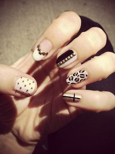 Black, white & gold nails by LJ