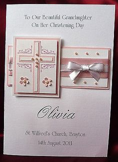 Personalised Handmade Christening Card Girl Granddaughter Goddaughter (1539Pink) in Crafts, Cardmaking & Scrapbooking, Hand-Made Cards | eBay