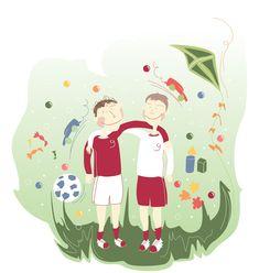 boys, kumple, summer, illustration, ilustracja, mioduszewska, koledzy, zabawa,