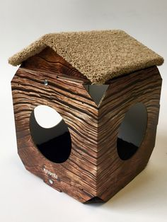 Cat House/Cat Bed Rustic Wood theme with pitched carpeted Roof by MyFourCatsDesigns on Etsy https://www.etsy.com/listing/243645084/cat-housecat-bed-rustic-wood-theme-with