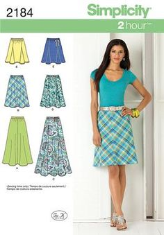 2184 Misses' Skirts    Misses' bias skirt in two lengths and gored skirt in three lengths sewing pattern.