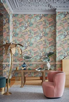 Paying homage to the epicentre of tropical, retro style, the exuberant Miami design featuring layers of terraced colonnades and lush tropical vegetation is now available in two new colourways; Soot and Snow for a bold, graphic statement and Pastel, reflecting South Beach's chalky coloured architecture and glamorously kitsch vibe. #retrohomedecor