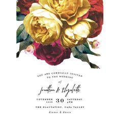 Vintage Rose Garden Wedding Invitations by Phrosne Ras | Elli