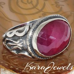 Genuine Ruby Yaqoot Unique handcrafted men Ring 925 Sterling Silver #KaraJewels #Handmade #ruby #yaqoot #ring #men #jewelry #
