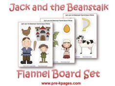 Jack and the Beanstalk Free Printable Flannel or Magnetic Set — Pre-K Pages Nursery Rhymes Preschool, Preschool Literacy, Preschool Themes, Early Literacy, In Kindergarten, Flannel Board Stories, Felt Board Stories, Felt Stories, Flannel Boards