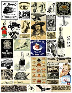 Vintage Ephemera Collage Sheet Retro Clippings by graficaitalia