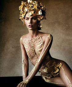 Gold sheer skeleton suit