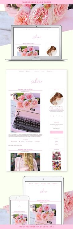 Silver WordPress Theme by Boutique Web Design Studio | Ideal for a personal blog, freelance blog, lifestyle blog, photography blog or fashion blog. A feminine and minimal WordPress theme that that displays beautifully on any device.