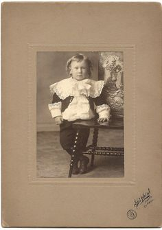 Antique Photo Young Boy with Curled Locks & by coleuscottage, $10.00
