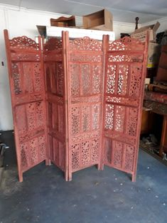 Screens - PROBABLY CONTEMPORARY LOVELY WOOD CARVED LEAF ++ 4 PANEL HINGED SCREEN / ROOM DIVIDER for sale in Johannesburg (ID:322637334) Screens, Divider, Carving, Leaves, Contemporary, Wood, Furniture, Home Decor, Canvases