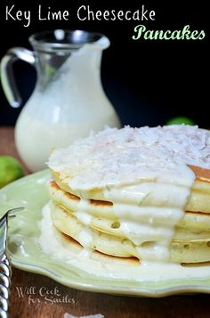Key Lime Collection, 25 Recipes Key Lime Cheesecake Pancakes + 24 other Key Lime recipes. For all my friends back home in SoFla! I miss key limes, and any lime for that matter. There are lemons here but no limes. Breakfast Pancakes, Pancakes And Waffles, Breakfast Dishes, Breakfast Recipes, Buttermilk Pancakes, Pancake Recipes, Breakfast Ideas, Ricotta Pancakes, Cheesecake Pancakes