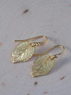 Gold Leaf Earrings / Leaf Earrings / Small Gold Earrings / Rustic Earrings / Rustic Earrings / Flower Petal Earrings / Leaf Jewelry/ Leaf by MalieCreations on Etsy