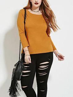 Plus T-Shirt: orange, long sleeve, laced up back.