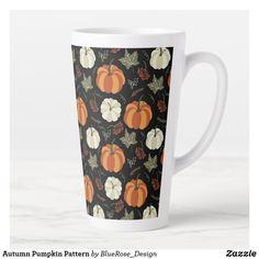 Autumn Pumpkin Pattern Latte Mug Coffee Drinks, Coffee Mugs, Latte Mugs, Beer Mugs, Cloth Napkins, Fall Pumpkins, Thanksgiving Decorations, Christmas Card Holders, Keep It Cleaner