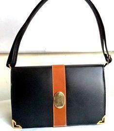 86f330861b YSL 80s Leather Clutch Bag Convertible Black Tan Logo Satchel Shoulder Bag  Structured Purse