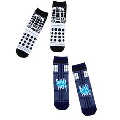 Hot Topic Doctor Who TARDIS Bad Wolf Dalek Ankle Socks 2 Pair ($9.03) ❤ liked on Polyvore featuring intimates, hosiery, socks, blue, short socks, blue socks, ankle socks, blue ankle socks and tennis socks