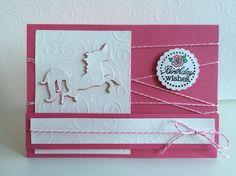 Birthday Wishes, pink weiß, Einhorn, Karte, Geburtstag
