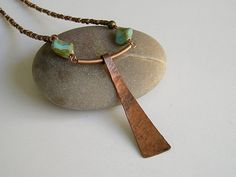 Simple & Beautiful Beaded Necklace with Hammered Copper Pendant