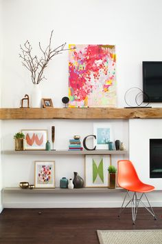 TV example #2: Extend a mantel to create a shelf. (Pretend the TV in this picture is on the left, rather than above the fireplace.) Could this mantel treatment be used on both our fireplace and TV wall (with display shelves under the TV)?