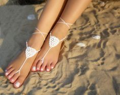 Items similar to Barefoot Sandals Crochet Bridal White Flower Barefoot Sandals  Foot jewelry Beach wedding Nude shoes Beach wedding anklet Footless sandals on Etsy