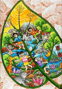 Earth Drawings, Art Drawings For Kids, Drawing Ideas, Save Water Poster Drawing, Save Earth Drawing, Environment Painting, Painting Competition, Oil Pastel Drawings, Indian Art Paintings