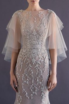 Paolo Sebastian French tulle fishtail gown with embroidered vine detailing and wing sleeve. I just wept...