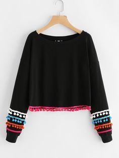 Colorful Pom Pom Lace Trim Pullover