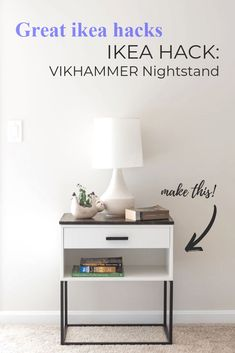 IKEA Hack: A VIKHAMMER Nightstand Makeover - - We finished building our new king size bed frame a few weeks ago (I'll try. Hacks Ikea, Ikea Furniture Hacks, Ikea Furniture Makeover, Ikea Living Room Furniture, Ikea Closet Hack, Hemnes Ikea Hack, Ikea Hack Desk, Ikea Hack Bedroom, Ikea Nightstand