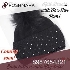 O&P Knit Beanie Embellished Crystals and Fox Pom. Olive and Pique Knit Beanie Embellished with Crystals and a Fox Pom. Fabric: 40% Angora, 60% Acrylic. Color-Black, One size fits most. Olive&Pique Accessories Hats