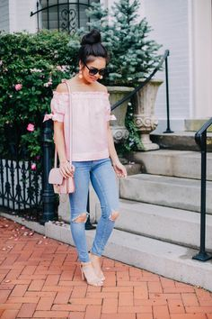 COLOR & CHIC | Pink silk off the shoulder top with distressed jeans