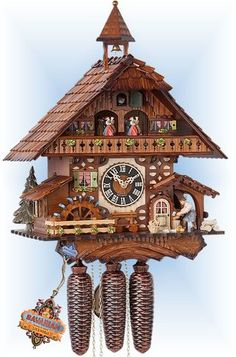 Chalet style 8 day Chopper Mill cuckoo clock by Hones Coo Coo Clock, Alice And Wonderland Tattoos, Mechanical Clock, Forest And Wildlife, Chalet Style, Cool Clocks, Antique Clocks, Antique Stores, Black Forest