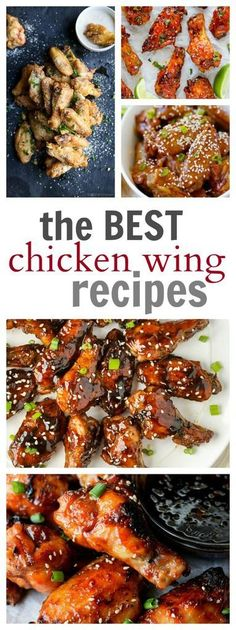 Best Chicken Wing Recipes to make as a Super Bowl Sunday appetizer for your friends and family! People will love these chicken wings on game day! Best Chicken Wing Recipe, Best Chicken Recipes, Beef Recipes, Cooking Recipes, Recipies, Easy Dinner Recipes, Appetizer Recipes, Appetizers, Easy Recipes