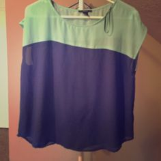 Forever 21 Blouse Navy and teal blouse, worn once Forever 21 Tops Blouses