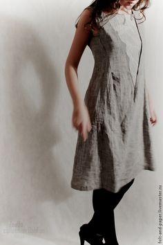 7152ba1780f2d88 Льняное платье миди без рукавов – купить в интернет-магазине на Ярмарке  Мастеров с доставкой