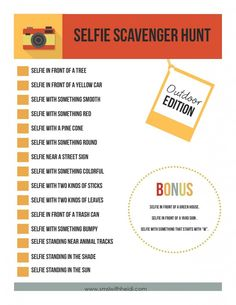 Outdoor Selfie Scavenger Hunt edition