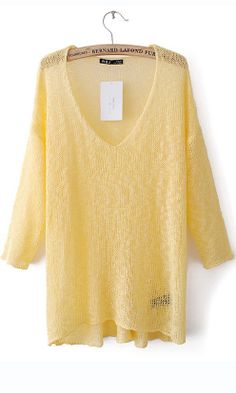 High low three quarters sleeve V-neck sweater yellow