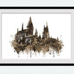 Hogwarts castle poster Harry Potter watercolor print Harry Potter poster…