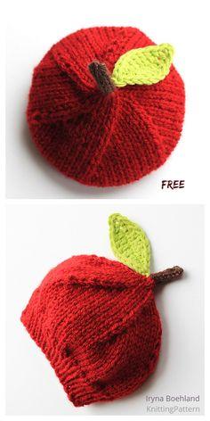 Knit Apple Hat Free Knitting Patterns - Knitting P Baby Hat Knitting Pattern, Baby Hats Knitting, Knitting Stitches, Knitting Patterns Free, Free Knitting, Crochet Patterns, Knitted Hats Kids, Knitting Machine, Crochet Bebe