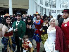 our Steampunk DC Justice League group at Emerald City Comic Con 2012 Saturday (Wonder Woman, Green Lantern, Robin, Catwoman, Super(wo)man, Batman, Power Girl, Flash #eccc