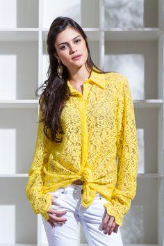 Camisa em Renda Amarelo Mine