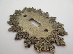 Vintage 1970s Metal Cast Single Toggle Switch Plate Cover Dark Antique Gold Tone Colours With
