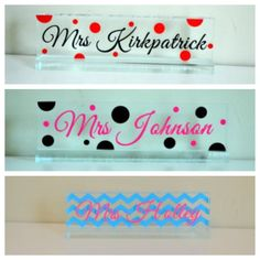 Personalized acrylic desk name plate by ihaveafavor on Etsy, $16.00