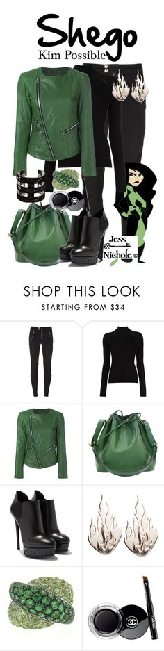 """""""Shego"""" by jess-nichole ❤ liked on Polyvore featuring Diesel, Misha Nonoo, Twin-Set, Louis Vuitton, Ring of Fire, Damiani and Chanel"""