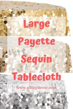 Large Payette Sequin on Mesh Base tablecloth. These tablecloth add a touch of glitz and glamour to any event. Wedding, Birthday Party, Bridal Shower, New Years Day Party. Glitz Wedding, Sequin Tablecloth, Bridal Shower, Wedding Decorations, Sequins, Mesh, Glamour, Touch, Birthday
