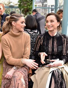 Olivia Palermo and Kristin Scott Thomas attend the Valentino show as part of the Paris Fashion Week Womenswear Fall/Winter 2017/2018 on March 5 2017...
