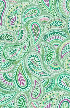 Jade Green Paisley Art Print