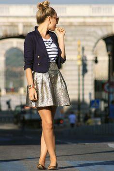 gold skirt, nautical shirt tucked into skirt and mini blazer and flats. Cute bun, so casually chic and feminine.