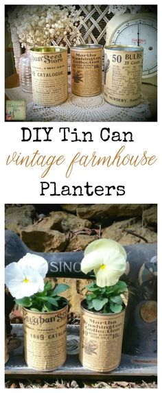 A super fun way to use up recycled tins and add a little Vintage Farmhouse to your garden | Tin Can Tinker | www.raggedy-bits.com