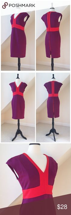 NWT Narciso Rodriguez Career Dress NWT Narciso Rodriguez for Design Nation Career Dress...thick stretch jersey knit...cap sleeves...mulberry and scarlet red...deep v-neckline...quality poly/rayon/spandex blend...exposed back zipper. Size Medium. Retail $60 Narciso Rodriguez Dresses Midi